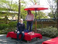Pooh-san and Doug having a tea break at the Temple of the Golden Pavilion in Kyoto, Japan on 4/21/08.
