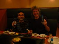 Me and Doug at farewell dinner, having okonomiyaki (kind of a Japanese-style pizza fried on a hot plate). Yummy!!!!!
